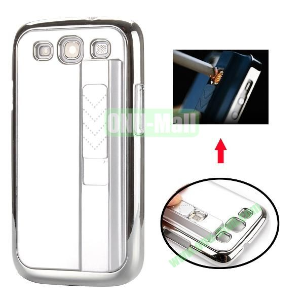 Electronic Rechargeable Smoking Cigarette Lighter Electroplated PC Hard Case for Samsung Galaxy S3 i9300 (Silver)