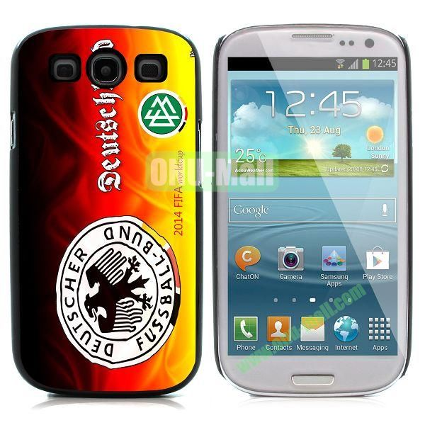 2014 FIFA World Cup Pattern Aluminium Coated PC Hard Case for Samsung I9300 Galaxy S3 (Deutschland)