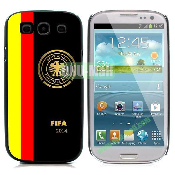 2014 FIFA World Cup Pattern Aluminium Coated PC Hard Case for Samsung I9300 Galaxy S3 (Deutscher)