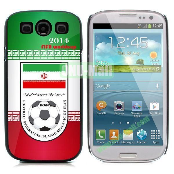 2014 FIFA World Cup Pattern Aluminium Coated PC Hard Case for Samsung I9300 Galaxy S3 (IRAN)