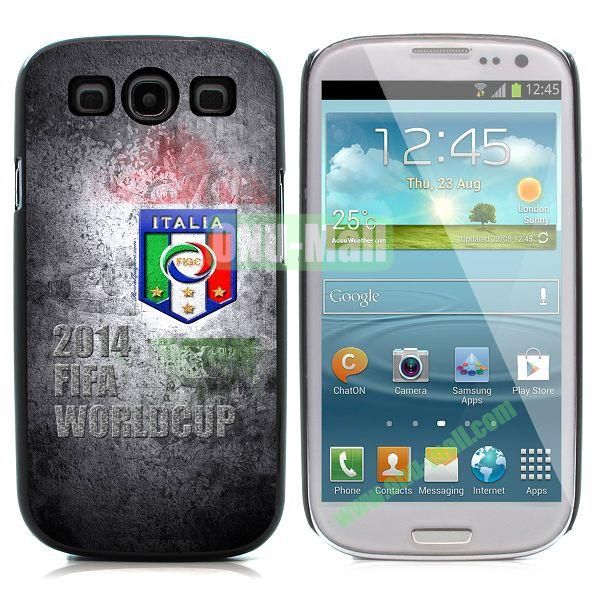 2014 FIFA World Cup Pattern Aluminium Coated PC Hard Case for Samsung I9300 Galaxy S3 (Italia)