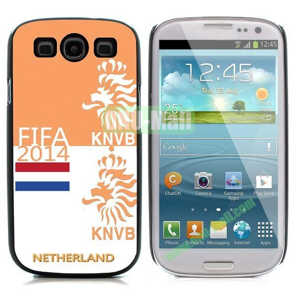 2014 FIFA World Cup Pattern Aluminium Coated PC Hard Case for Samsung I9300 Galaxy S3 (Knvb)