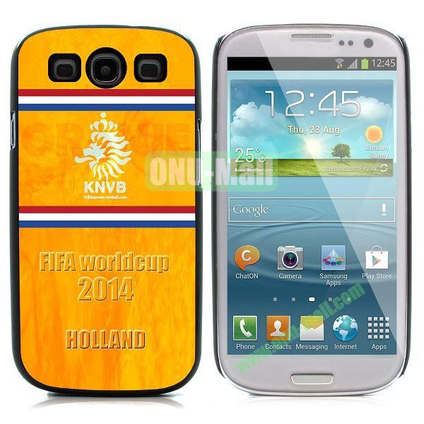 2014 FIFA World Cup Pattern Aluminium Coated PC Hard Case for Samsung I9300 Galaxy S3 (Holland)
