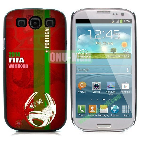 2014 FIFA World Cup Pattern Aluminium Coated PC Hard Case for Samsung I9300 Galaxy S3 (Portugai)