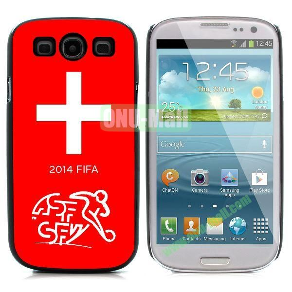 2014 FIFA World Cup Pattern Aluminium Coated PC Hard Case for Samsung I9300 Galaxy S3 (Switzerland)