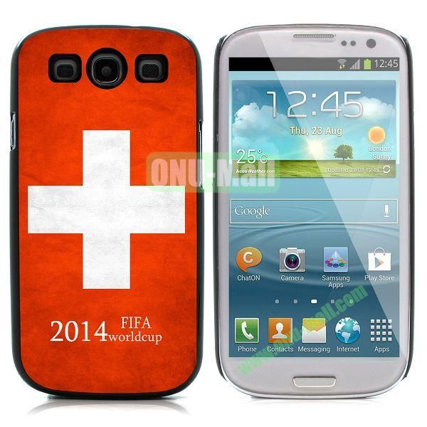 2014 FIFA World Cup Pattern Aluminium Coated PC Hard Case for Samsung I9300 Galaxy S3 (Switzerland)