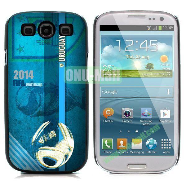 2014 FIFA World Cup Pattern Aluminium Coated PC Hard Case for Samsung I9300 Galaxy S3 (Uruguay)