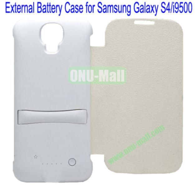 3300mAh Capacity Rechargeable External Battery Case for Samsung Galaxy S4i9500 With Holder (White)