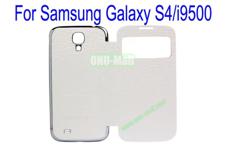 High Quality  Crocodile Texture Leather Case Cover for Samsung Galaxy S4i9500 Wth Dormancy Function(White)