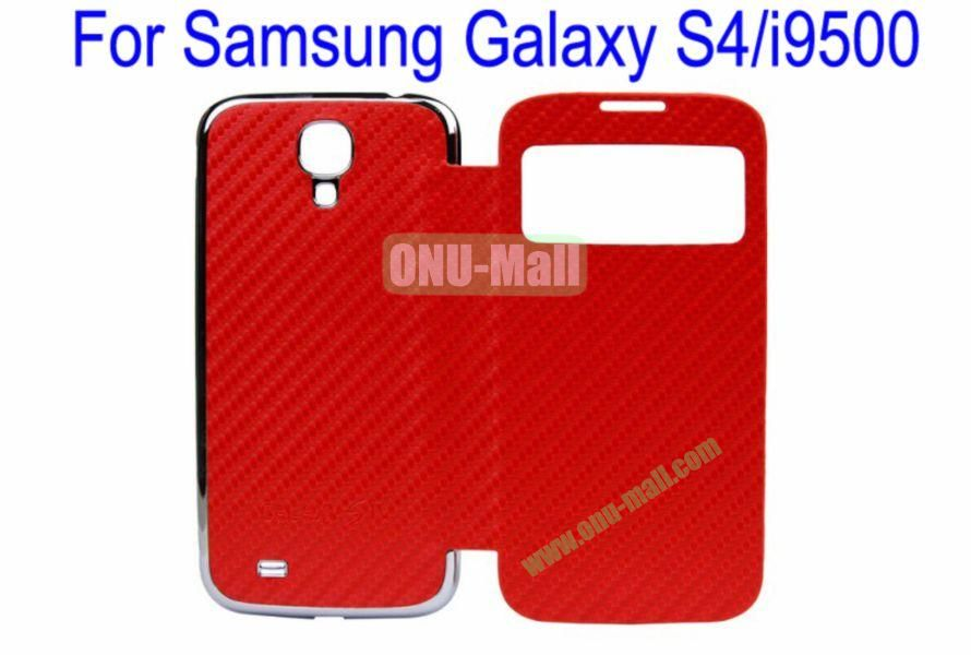 High Quality  Mat Texture Leather Case Cover for Samsung Galaxy S4i9500 Wth Dormancy Function(Red)