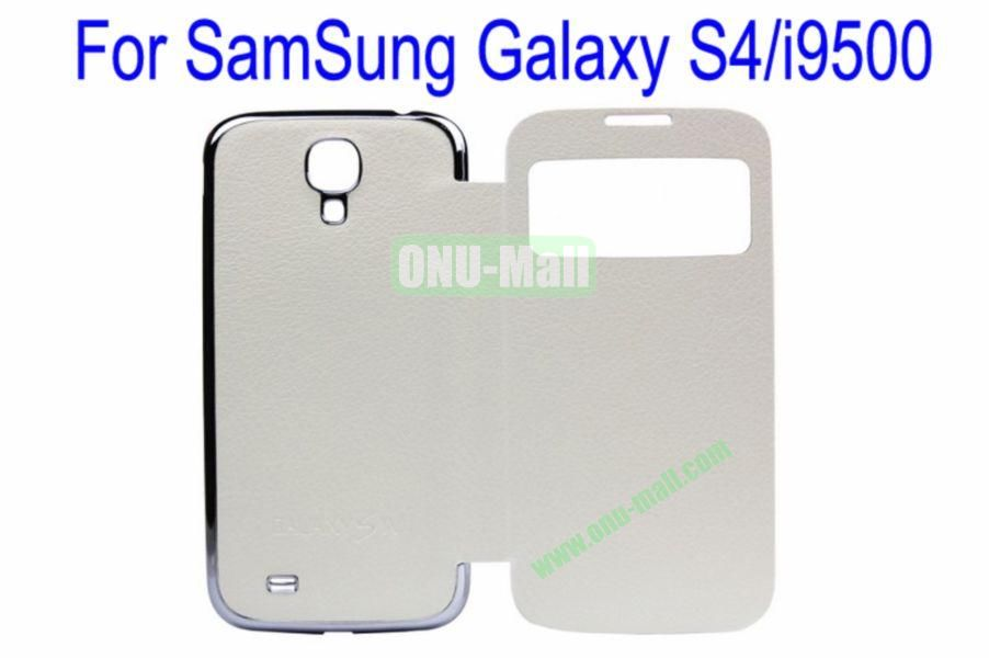 High Quality  Litchi Lines Leather Case Cover for Samsung Galaxy S4i9500 Wth Dormancy Function(White)