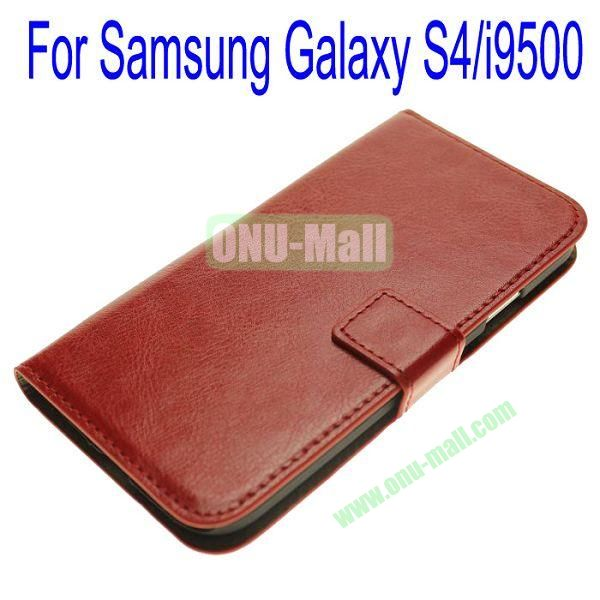 Genuine Leather Case for Samsung Galaxy S4i9500 with Card Slots(Red)