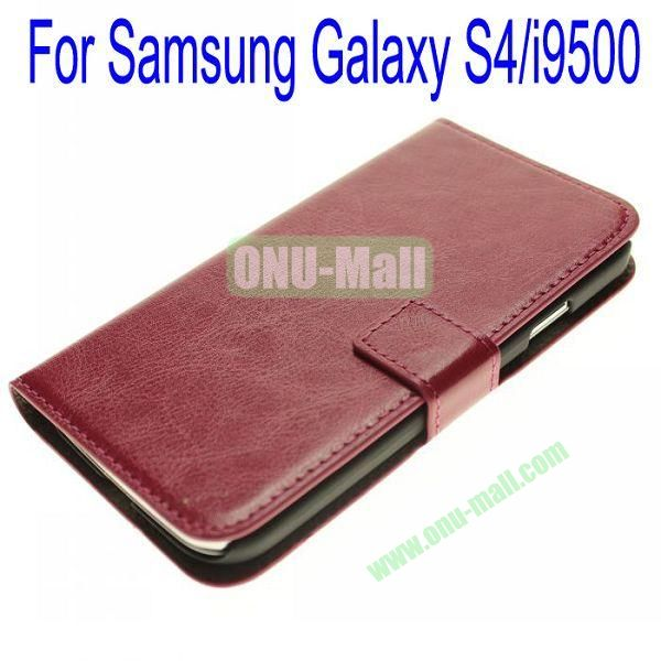 Genuine Leather Case for Samsung Galaxy S4i9500 with Card Slots(Dark Red)