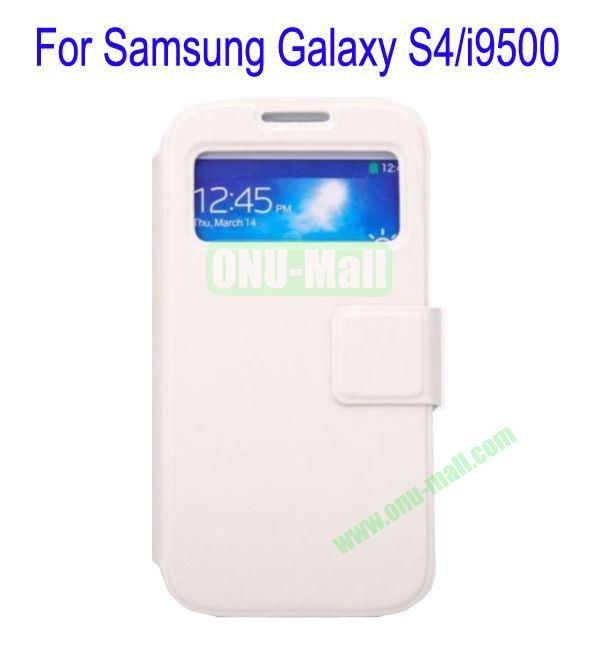 Ultrathin Magnetic Folio Stand Dormancy Case Cover for Samsung Galaxy S4i9500(White)