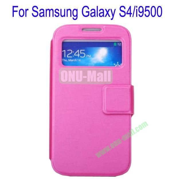 Ultrathin Magnetic Folio Stand Dormancy Case Cover for Samsung Galaxy S4i9500(Rose)