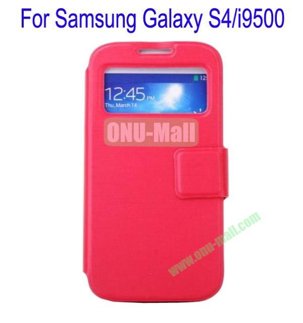Ultrathin Magnetic Folio Stand Dormancy Case Cover for Samsung Galaxy S4i9500(Red)