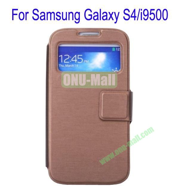 Ultrathin Magnetic Folio Stand Dormancy Case Cover for Samsung Galaxy S4i9500(Brown)