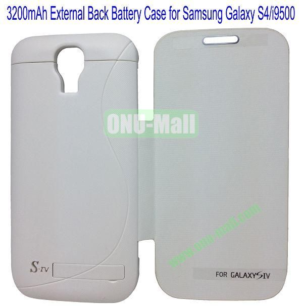 3200mAh External Back Battery Case Front Leather Cover for Samsung Galaxy S4i9500 with Folding Bracket(White)