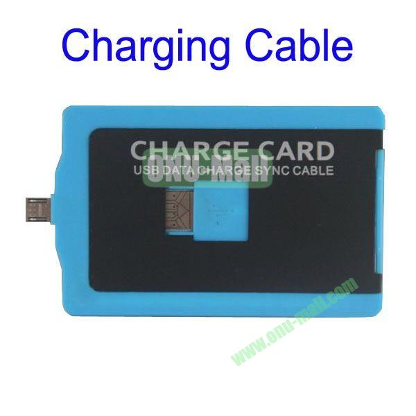 Charge Card Credit Card Sized USB Charging and Sync Cable for Samsung S4,S3, HTC ONE, SONY L36h etc, Mobile Phones(Blue)