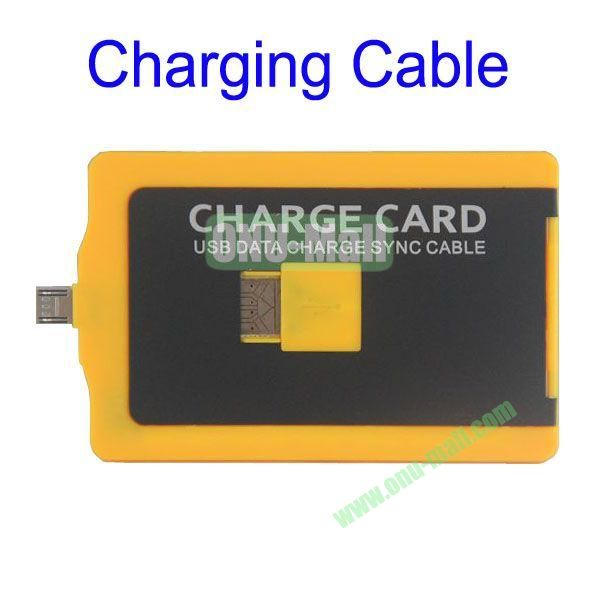 Charge Card Credit Card Sized USB Charging and Sync Cable for Samsung S4,S3, HTC ONE, SONY L36h etc, Mobile Phones(Yellow)
