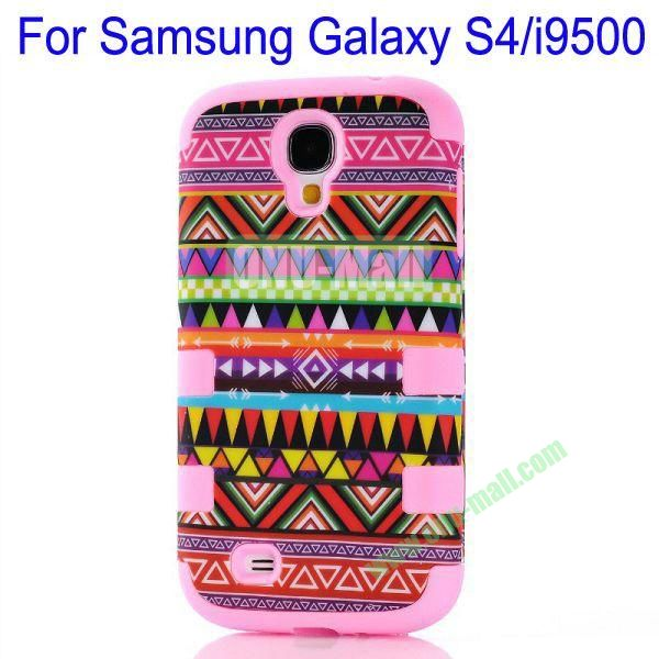 Wholesale Defender Tribe Case 3 in One Protective PC + Silicone Front and Back Aztec Cover for Samsung Galaxy S4i9500(Pink)