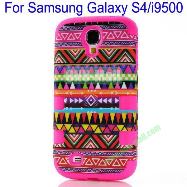 Wholesale Defender Tribe Case 3 in One Protective PC + Silicone Front and Back Aztec Cover for Samsung Galaxy S4i9500(Rose)