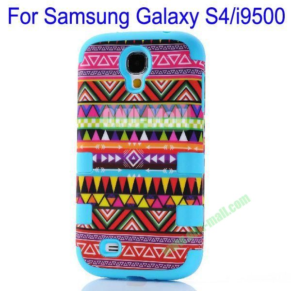 Wholesale Defender Tribe Case 3 in One Protective PC + Silicone Front and Back Aztec Cover for Samsung Galaxy S4i9500(Blue)