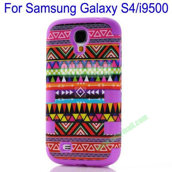 Wholesale Defender Tribe Case 3 in One Protective PC + Silicone Front and Back Aztec Cover for Samsung Galaxy S4i9500(Purple)