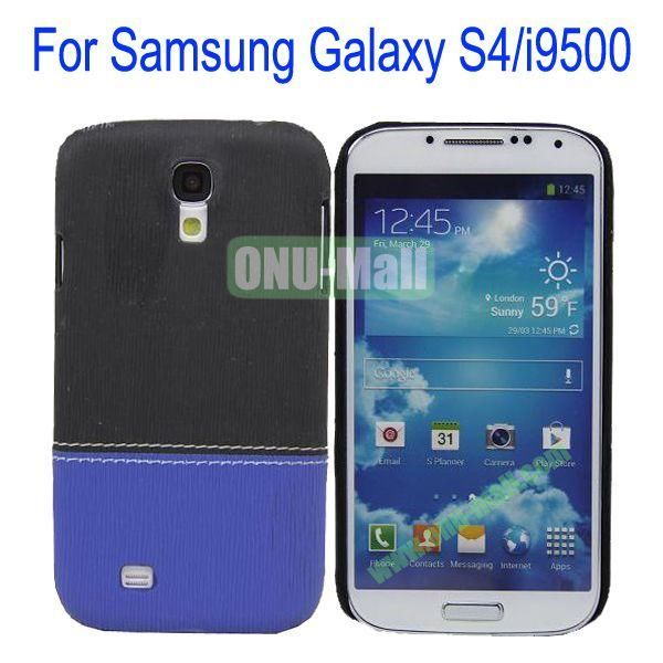 Color Mixing Leather Coated Hard Case Cover for Samsung Galaxy S4i9500(Black+Blue)