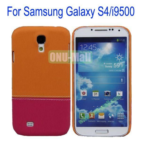 Color Mixing Leather Coated Hard Case Cover for Samsung Galaxy S4i9500(Orange+Rose)