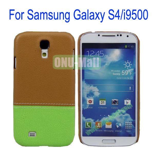Color Mixing Leather Coated Hard Case Cover for Samsung Galaxy S4i9500(Brown+Green)