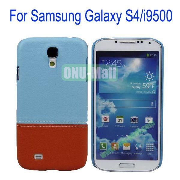 Color Mixing Leather Coated Hard Case Cover for Samsung Galaxy S4i9500(Blue+Brown)