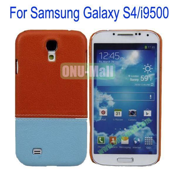 Color Mixing Leather Coated Hard Case Cover for Samsung Galaxy S4i9500(Orange+Light Blue)