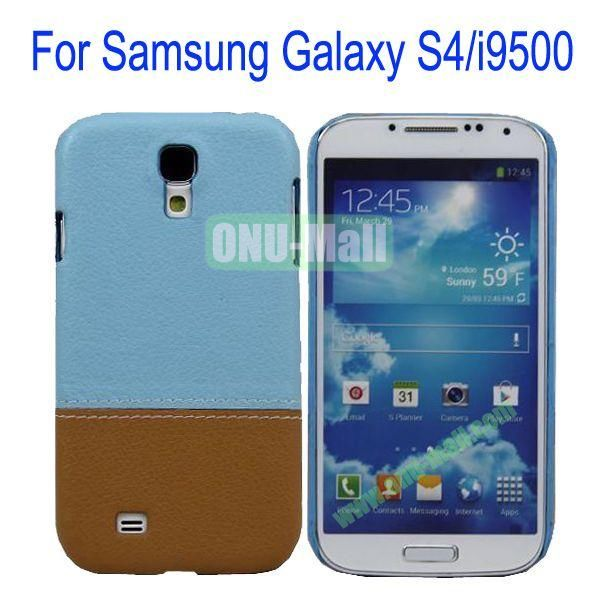Color Mixing Leather Coated Hard Case Cover for Samsung Galaxy S4i9500(Light Blue+Brown)