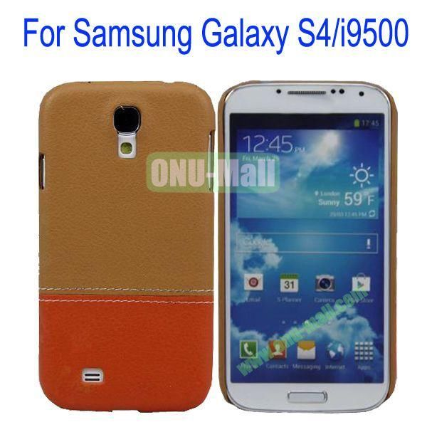 Color Mixing Leather Coated Hard Case Cover for Samsung Galaxy S4i9500(Brown+Orange)