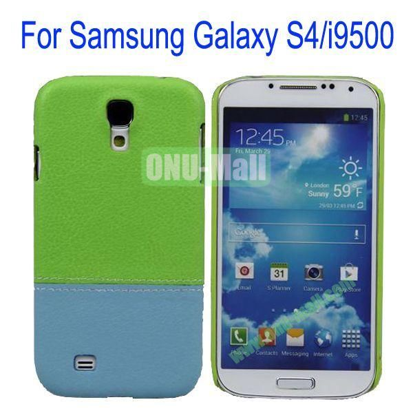 Color Mixing Leather Coated Hard Case Cover for Samsung Galaxy S4i9500(Green+Blue)