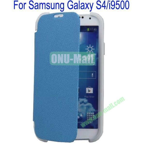 Two Foilo Folding Twill Leather Case Cover for Samsung Galaxy S4i9500 with Stand(Blue)