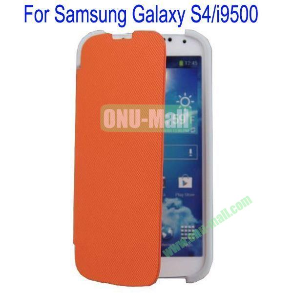 Two Foilo Folding Twill Leather Case Cover for Samsung Galaxy S4i9500 with Stand(Orange)