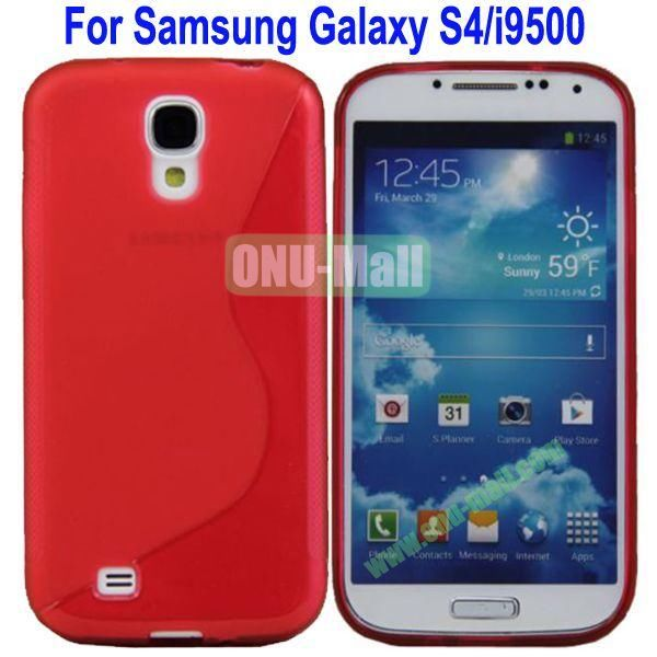 S-Shaped Curve Pattern TPU Back Cover Case for Samsung Galaxy S4i9500(Red)