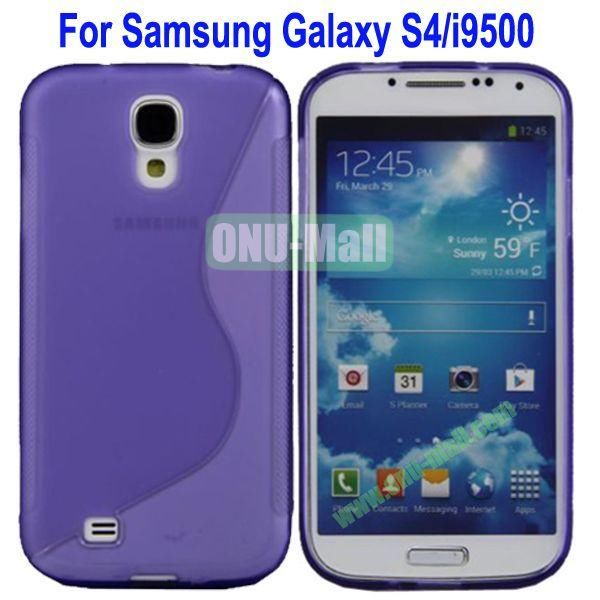 S-Shaped Curve Pattern TPU Back Cover Case for Samsung Galaxy S4i9500(Purple)