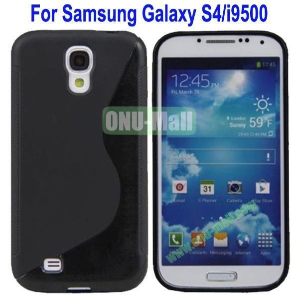 S-Shaped Curve Pattern TPU Back Cover Case for Samsung Galaxy S4i9500(Black)