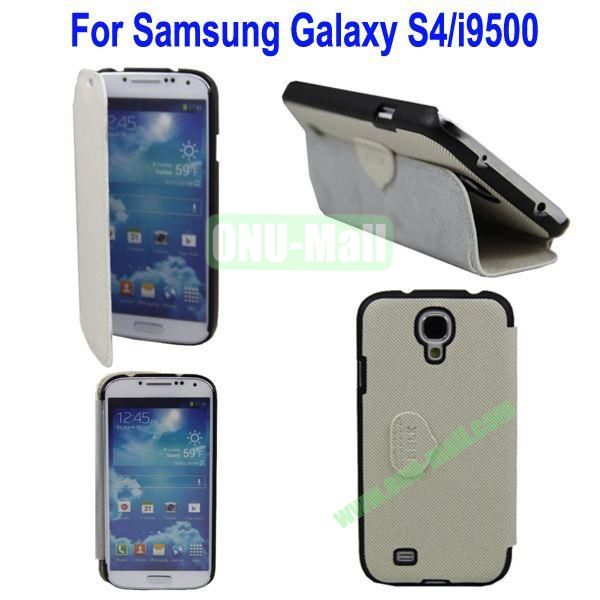 Mat Lines Flip Leather Case Cover for Samsung Galaxy S4i9500 with Stand(White)