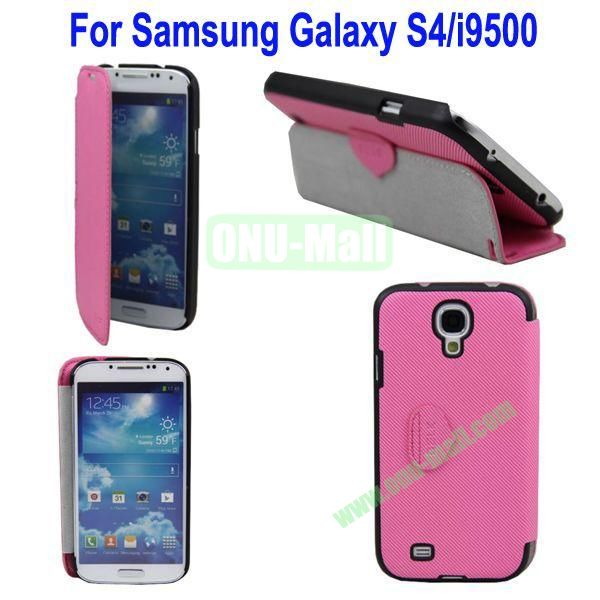 Mat Lines Flip Leather Case Cover for Samsung Galaxy S4i9500 with Stand(Pink)
