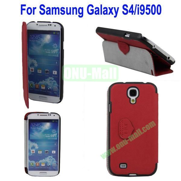 Mat Lines Flip Leather Case Cover for Samsung Galaxy S4i9500 with Stand(Red)