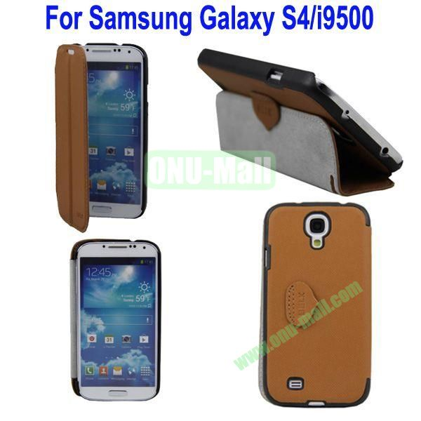 Mat Lines Flip Leather Case Cover for Samsung Galaxy S4i9500 with Stand(Brown)