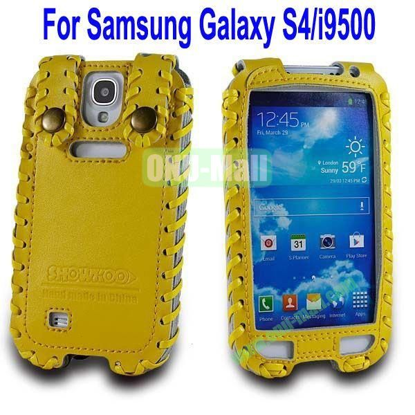 High Quality Elegant Duke Style Genuine Leather Case for Samsung Galaxy S4i9500(Yellow)
