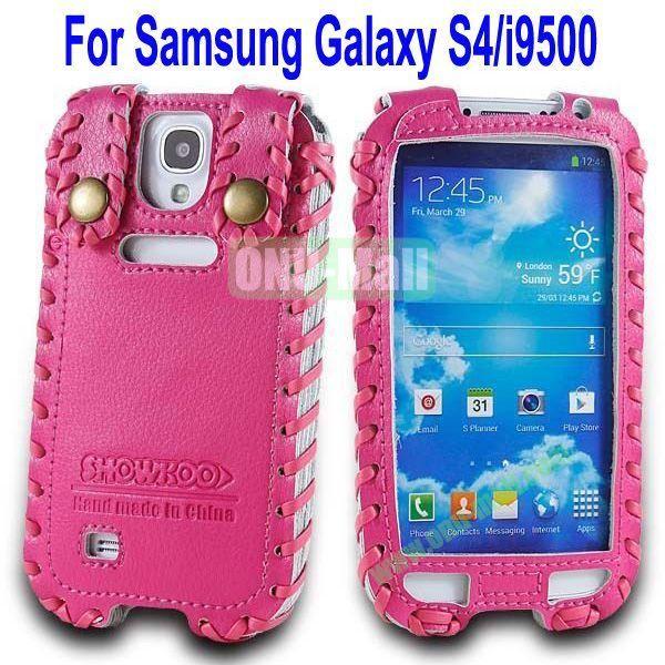 High Quality Elegant Duke Style Genuine Leather Case for Samsung Galaxy S4i9500(Rose)