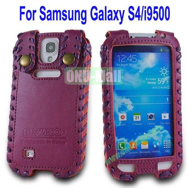 High Quality Elegant Duke Style Genuine Leather Case for Samsung Galaxy S4i9500(Purple)