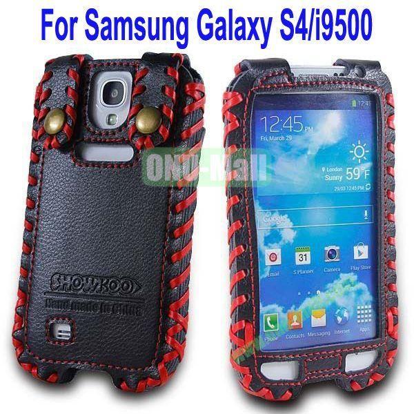 High Quality Elegant Duke Style Genuine Leather Case for Samsung Galaxy S4i9500(Black+Red)