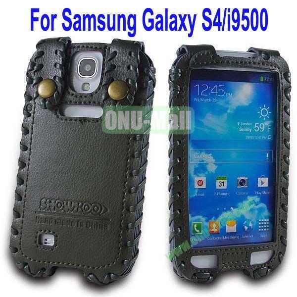 High Quality Elegant Duke Style Genuine Leather Case for Samsung Galaxy S4i9500(Black)